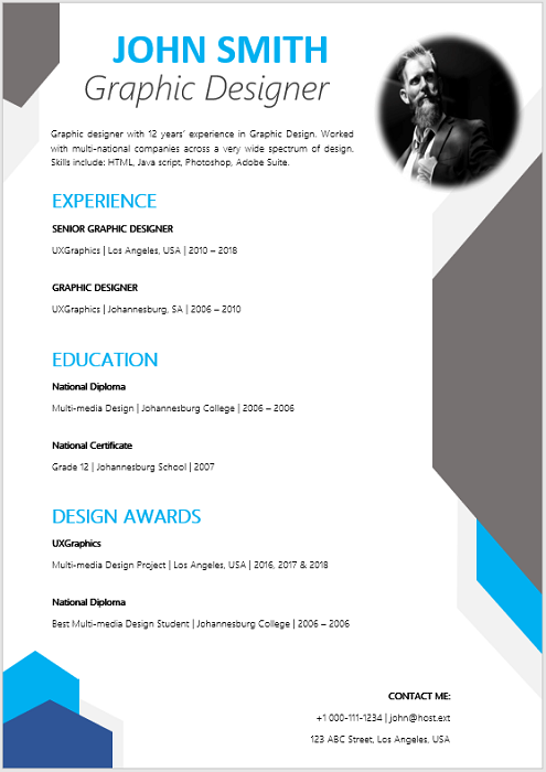Graphic Designer Curriculum Vitae Professional Cv Zone Templates