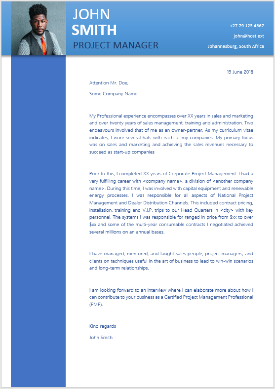 Project Manager Cover Letter - Professional CV Zone | Templates