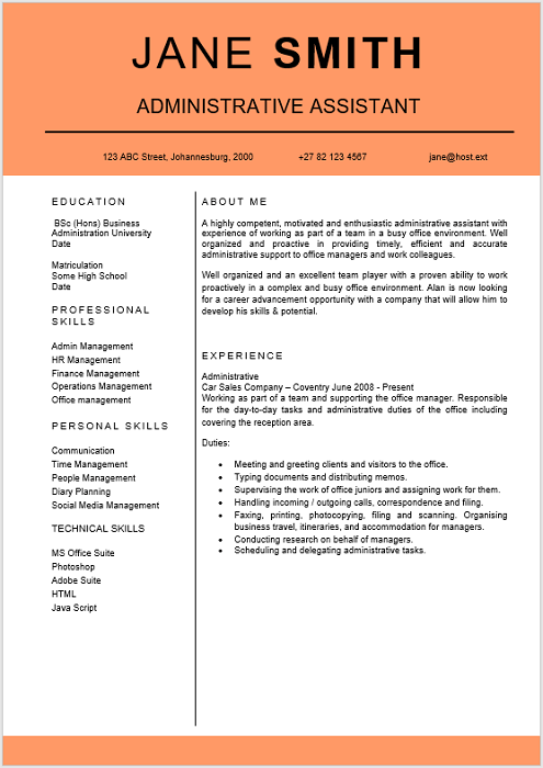 administrative assistant curriculum vitae