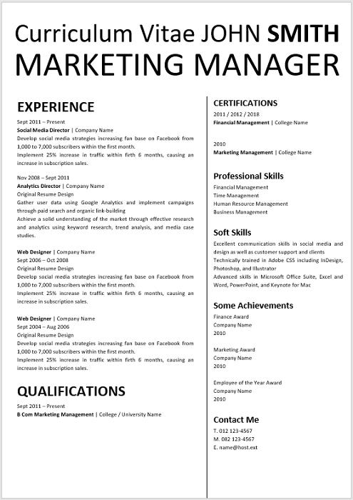 Marketing Manager Curriculum Vitae Professional Cv Zone