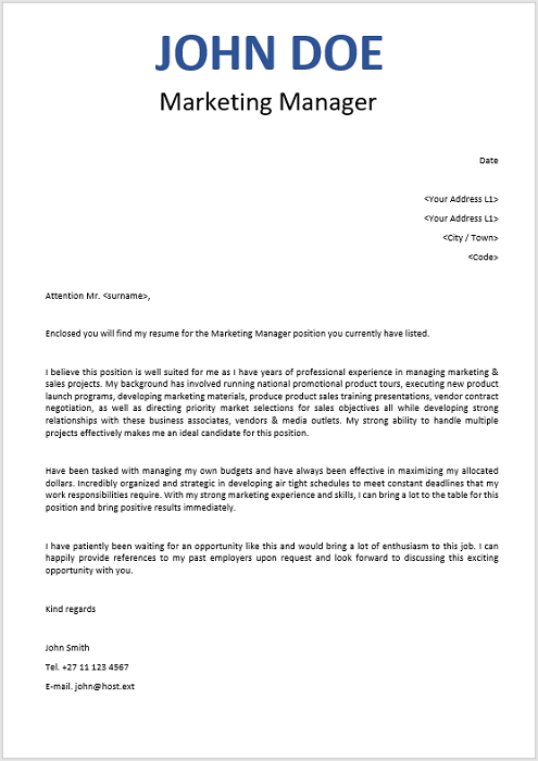 Marketing Manager Cover Letter