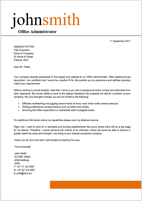 office administrator cover letter