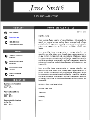 Personal Assistant Archives - Professional CV Zone | Templates