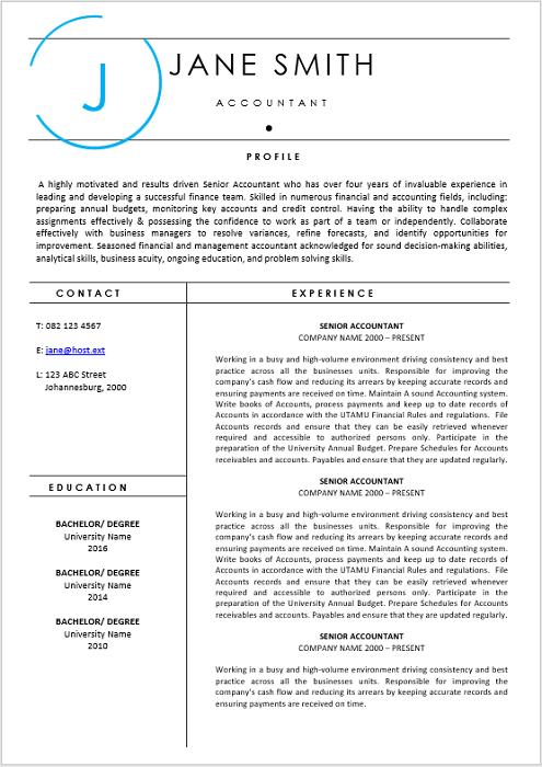Accountant Curriculum Vitae Professional Cv Zone Templates